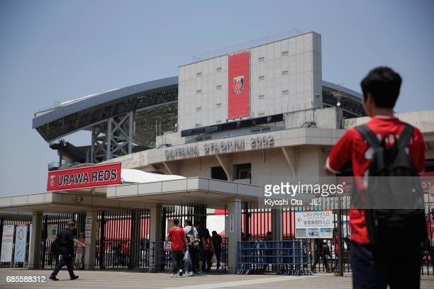 General view of the stadium prior to the J.League J1 match between Urawa Red Diamonds and Shimizu S-Pulse at Saitama Stadium on May 20, 2017 in...