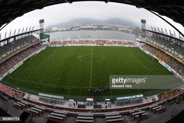 General view of the stadium prior to the J.League J3 match between Giravanz Kitakyushu and AC Nagano Parceiro at Mikuni World Stadium on June 25,...