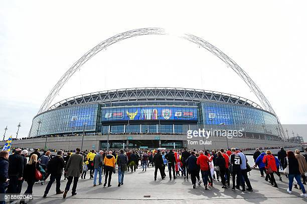 A general view of the stadium prior to the Johnstone's Paint Trophy Final match between Oxford United and Barnsley at Wembley Stadium on April 3 2016...