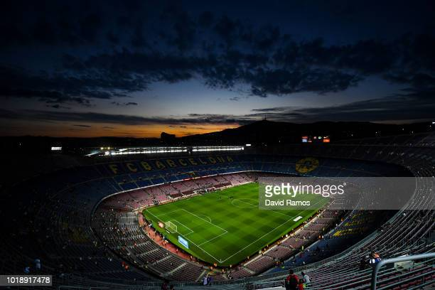 Barcelona fan poses for a picture prior to the La Liga match between FC Barcelona and Deportivo Alaves at Camp Nou on August 18 2018 in Barcelona...