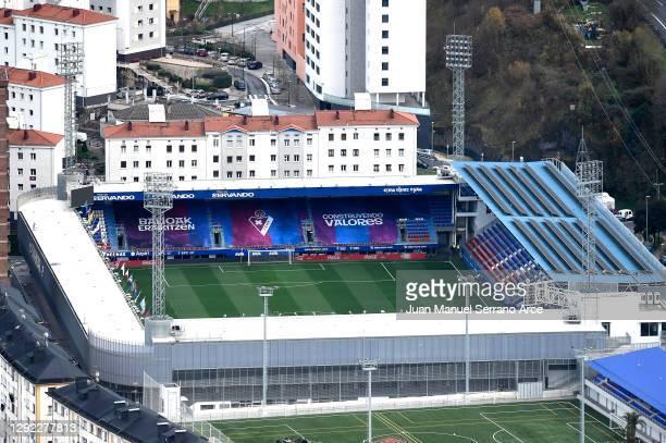 General view of the stadium prior to the La Liga Santander match between SD Eibar and Real Madrid at Estadio Municipal de Ipurua on December 20, 2020...