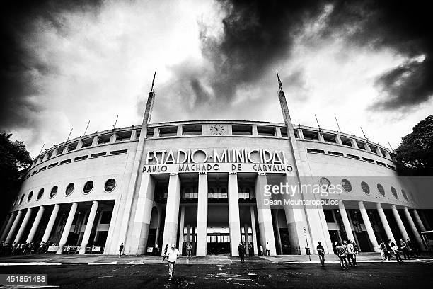 A general view of the stadium prior to the Netherlands training session at the 2014 FIFA World Cup Brazil held at the Estadio Paulo Machado de...