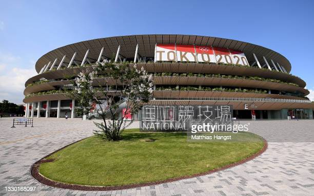 General view of the stadium prior to the Opening Ceremony of the Tokyo 2020 Olympic Games at Olympic Stadium on July 23, 2021 in Tokyo, Japan.