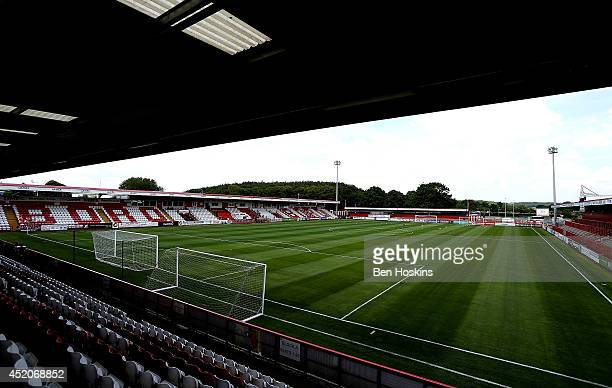 A general view of the stadium prior to the Pre Season Friendly match between Stevenage and West Ham United at The Lamex Stadium on July 12 2014 in...