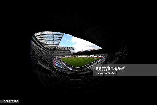 General view of the stadium prior to the Premier League match between Newcastle United and Liverpool FC at St. James Park on July 26, 2020 in...