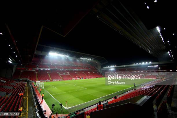 A general view of the stadium prior to the Premier League match between Liverpool and Chelsea at Anfield on January 31 2017 in Liverpool England