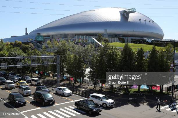 General view of the stadium prior to the Rugby World Cup 2019 Group D game between Australia and Fiji at Sapporo Dome on September 21, 2019 in...