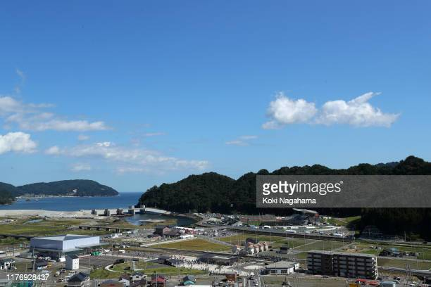 General view of the stadium prior to the Rugby World Cup 2019 Group D game between Fiji and Uruguay at Kamaishi Recovery Memorial Stadium on...
