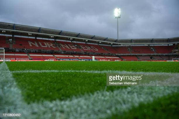 General view of the stadium prior to the Second Bundesliga match between 1. FC Nürnberg and Hannover 96 at Max-Morlock-Stadion on March 06, 2020 in...