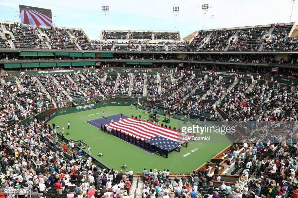 A general view of the stadium prior to the start of the men's final at the BNP Paribas Open on March 18 2018 in Indian Wells California
