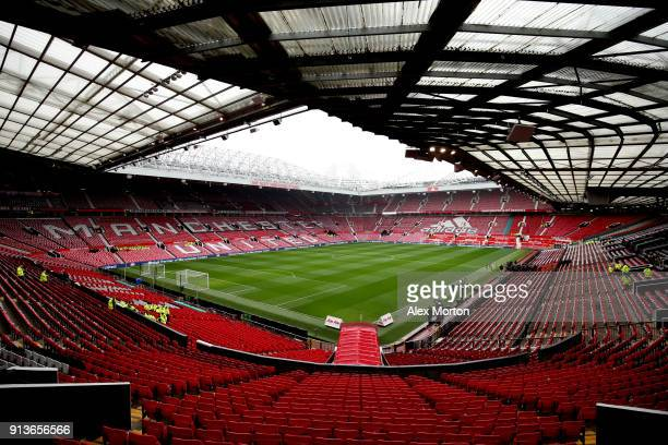 A general view of the stadium prior to the start of the Premier League match between Manchester United and Huddersfield Town at Old Trafford on...