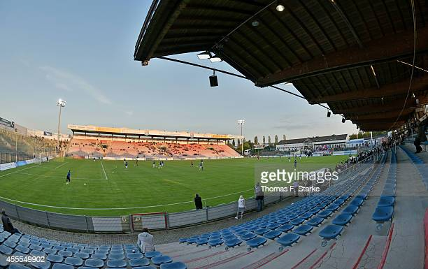 General view of the stadium prior to the Third League match between SpVgg Unterhaching and Arminia Bielefeld at Alpenbauer Sportpark on September 16,...