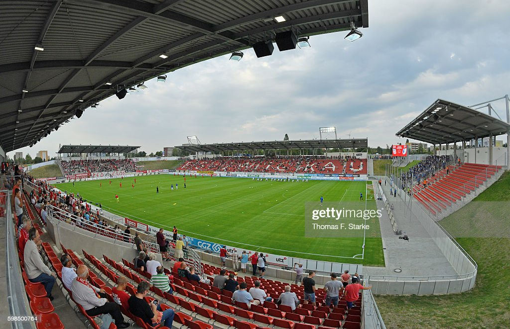 A general view of the stadium prior to the Third League match between FSV Zwickau and 1. FC Magdeburg at Stadion Zwickau on September 1, 2016 in Zwickau, Germany.