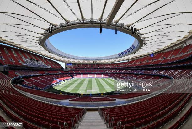 A general view of the stadium prior to the UEFA Champions League Final between Tottenham Hotspur and Liverpool at Estadio Wanda Metropolitano on June...