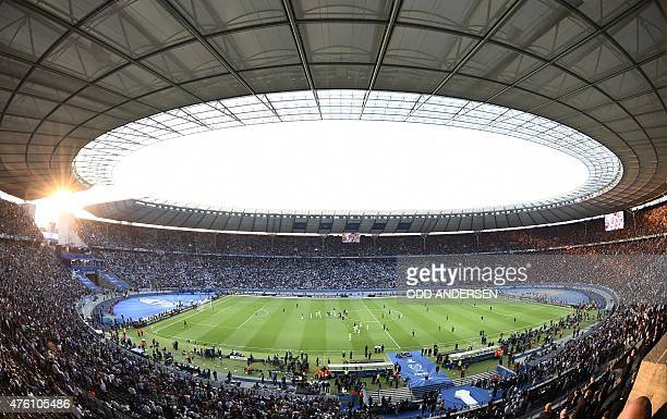 General view of the stadium prior to the UEFA Champions League Final football match between Juventus and FC Barcelona at the Olympic Stadium in...