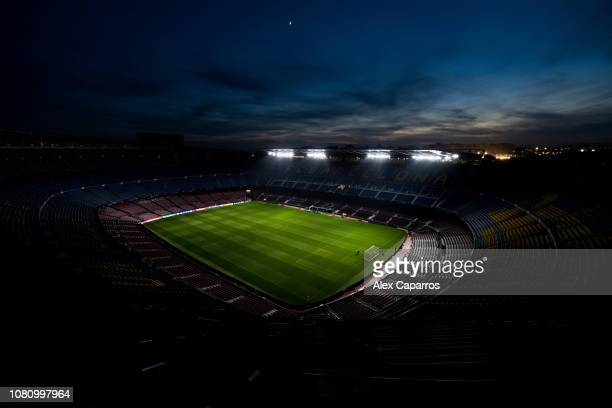 General view of the stadium prior to the UEFA Champions League Group B match between FC Barcelona and Tottenham Hotspur at Camp Nou on December 11,...