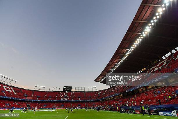 A general view of the stadium prior to the UEFA Champions League Group H match between Sevilla FC and Olympique Lyonnais at the Ramon SanchezPizjuan...