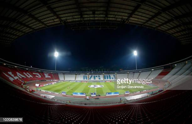 General view of the stadium prior to the UEFA Champions League Play Off First Leg match between FK Crvema Zvezda and FC Red Bull Salzburg at Rajko...