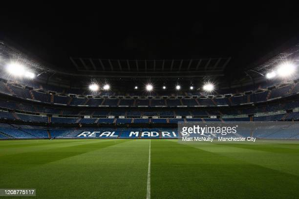 General view of the stadium prior to the UEFA Champions League round of 16 first leg match between Real Madrid and Manchester City at Estadio...