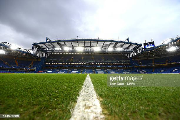 A general view of the stadium prior to the UEFA Champions League round of 16 second leg match between Chelsea FC and Paris SaintGermain at Stamford...