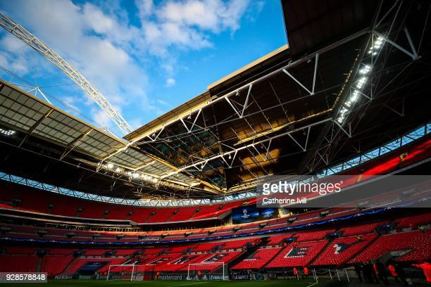 General view of the stadium prior to the UEFA Champions League Round of 16 Second Leg match between Tottenham Hotspur and Juventus at Wembley Stadium...