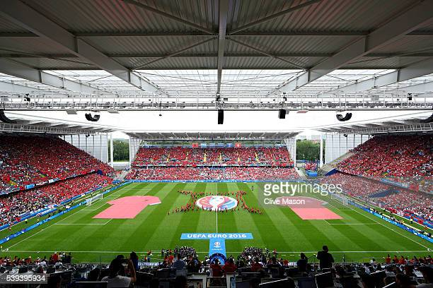 A general view of the stadium prior to the UEFA EURO 2016 Group A match between Albania and Switzerland at Stade BollaertDelelis on June 11 2016 in...