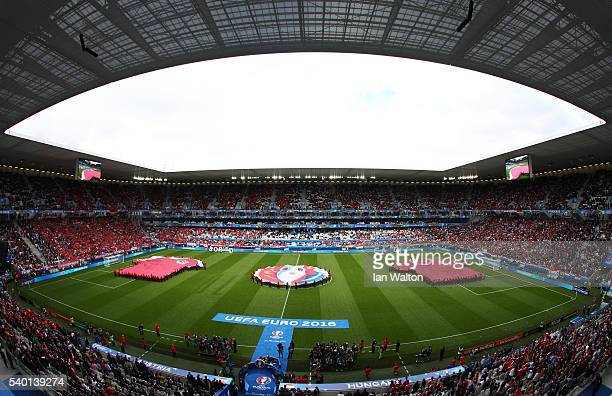 A general view of the stadium prior to the UEFA EURO 2016 Group F match between Austria and Hungary at Stade Matmut Atlantique on June 14 2016 in...