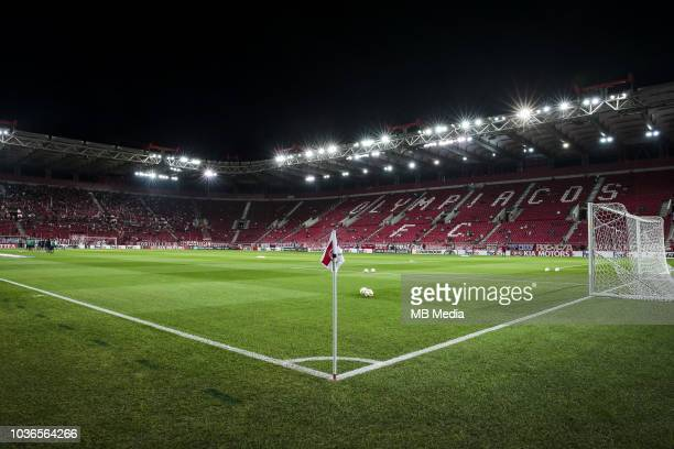 Real Betis players warm up prior to the UEFA Europa League Group F match between Olympiacos and Real Betis at Karaiskakis Stadium on September 20...