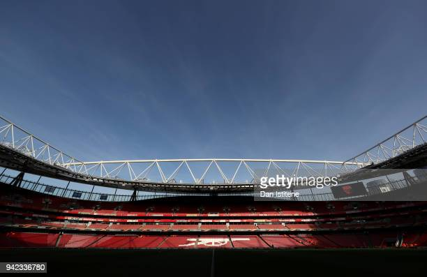 A general view of the stadium prior to the UEFA Europa League quarter final first leg match between Arsenal FC and CSKA Moskva at Emirates Stadium on...