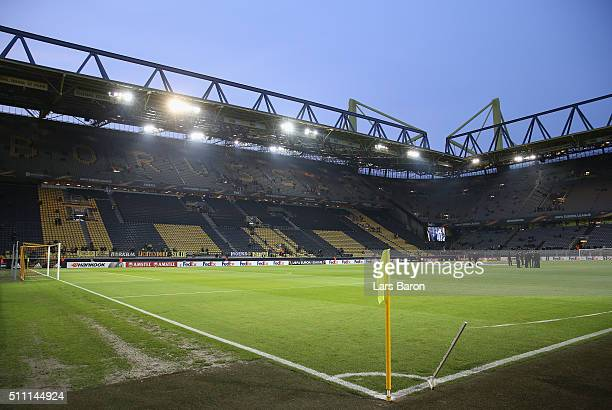 A general view of the stadium prior to the UEFA Europa League round of 32 first leg match between Borussia Dortmund and FC Porto at Signal Iduna Park...