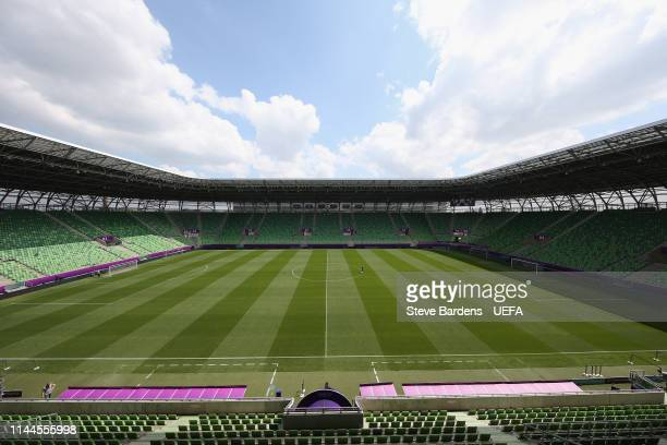 General view of the stadium prior to the UEFA Women's Champions League Final between Olympique Lyonnais and FC Barcelona Women at Groupama Arena on...