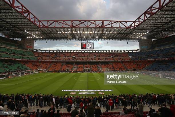 A general view of the stadium prior to UEFA Europa League Round of 16 match between AC Milan and Arsenal at the San Siro on March 8 2018 in Milan...