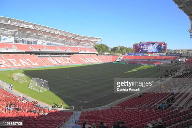 General view of the stadium Rio Tinto prior the NWSL game between Utah Royals FC and Portland Thorns FC at Rio Tinto Stadium on July 19, 2019 in...