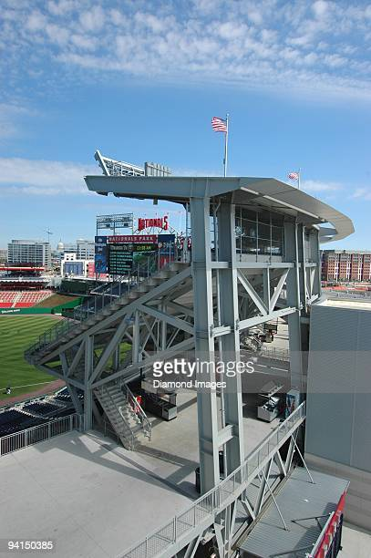 A general view of the stadium scoreboard and firstbase upper level seating section game on August 31 2008 between the Atlanta Braves and the...