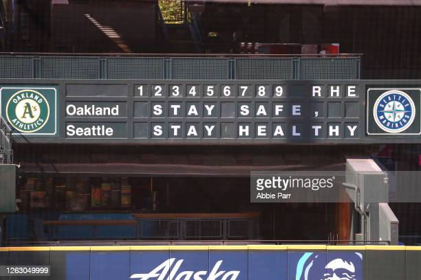 General view of the stadium scoreboard with a message promoting health and safety due to the COVID-19 pandemic prior to an Opening Day game between...