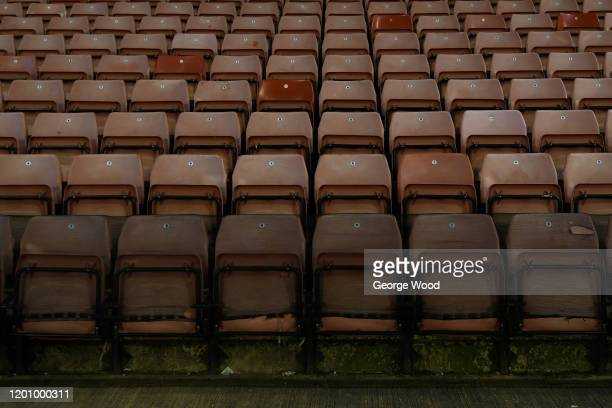 A general view of the stadium seats ahead of the Sky Bet Championship match between Barnsley and Preston North End at Oakwell Stadium on January 21...