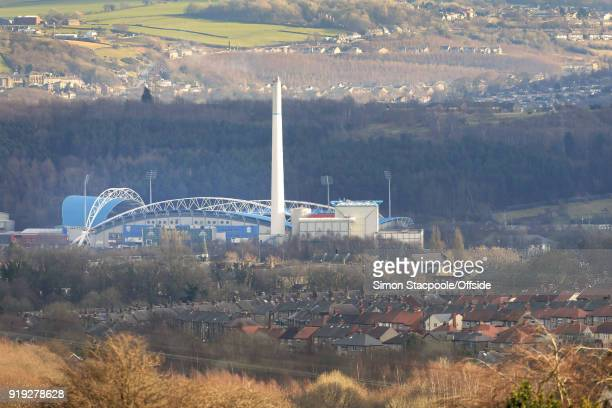 A general view of the stadium seen across the fields ahead of The Emirates FA Cup Fifth Round match between Huddersfield Town and Manchester United...
