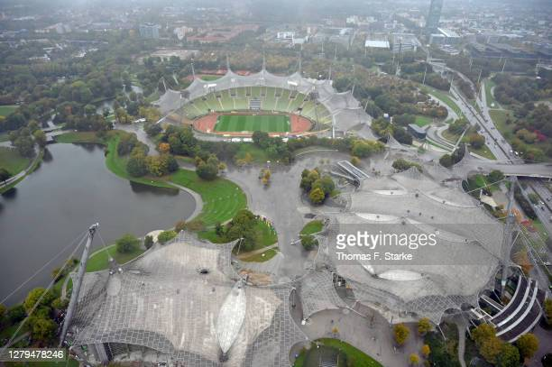 General view of the stadium shot from the olympic tower prior to during the 3. Liga match between Tuerkguecue Muenchen and SV Wehen Wiesbaden at...