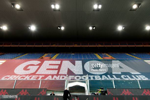 General view of the stadium showing a big banner dedicated to Genoa's fans before the Serie A match between Genoa CFC and Parma Calcio at Stadio...