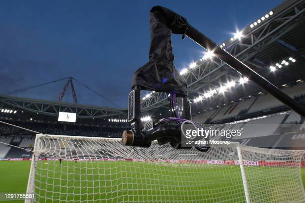 General view of the stadium showing a wideangle television camera pictured on a boom arm behind the goal prior to the Serie A match between Juventus...