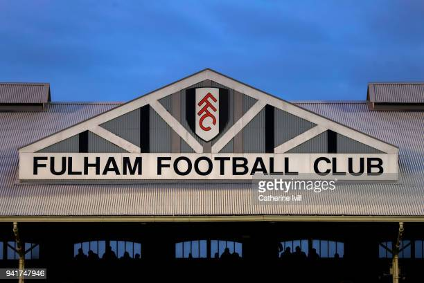 General view of the stadium showing the club badge during the Sky Bet Championship match between Fulham and Leeds United at Craven Cottage on April 3...