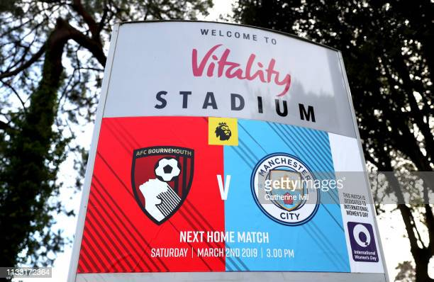 A general view of the stadium sign prior to the Premier League match between AFC Bournemouth and Manchester City at Vitality Stadium on March 02 2019...