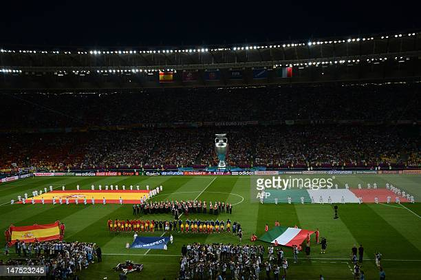 General view of the stadium taken as players listen to their national anthems before the Euro 2012 football championships final match Spain vs Italy...