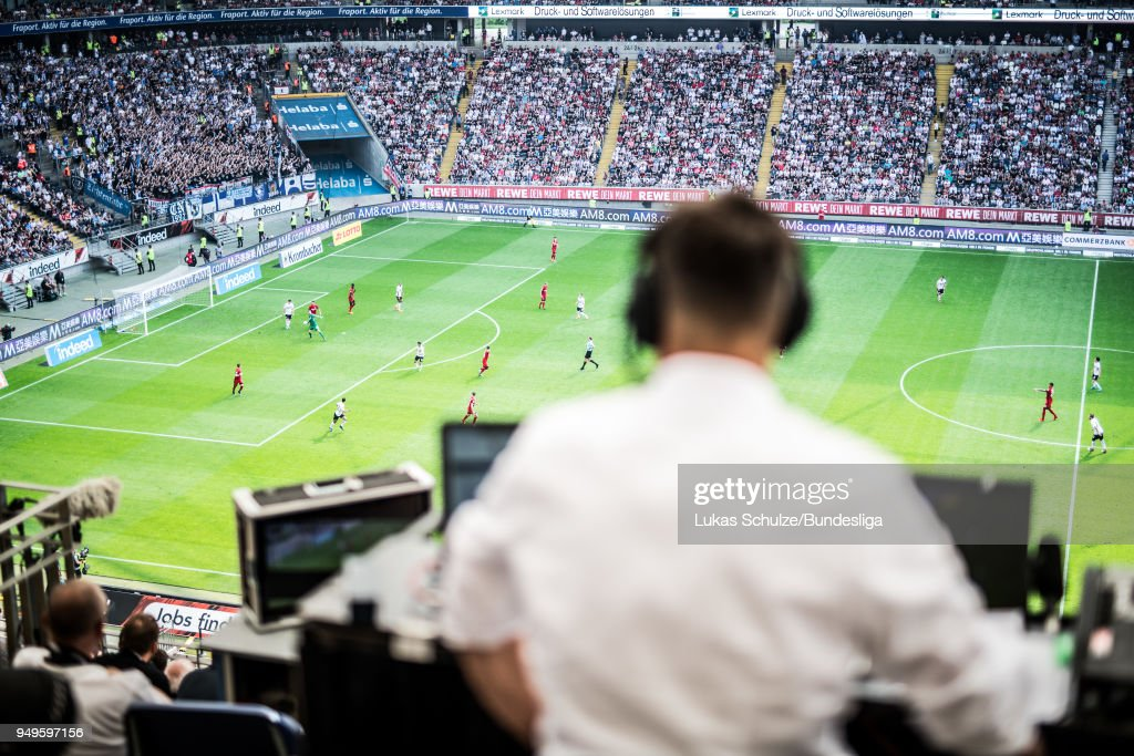 General view of the stadium with a tv reporter on the media tribune during the Bundesliga match between Eintracht Frankfurt and Hertha BSC at Commerzbank-Arena on April 21, 2018 in Frankfurt am Main, Germany.