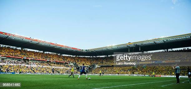 General view of the stadium with action during the Danish Alka Superliga match between Brondby IF and FC Midtjylland at Brondby Stadion on May 14...