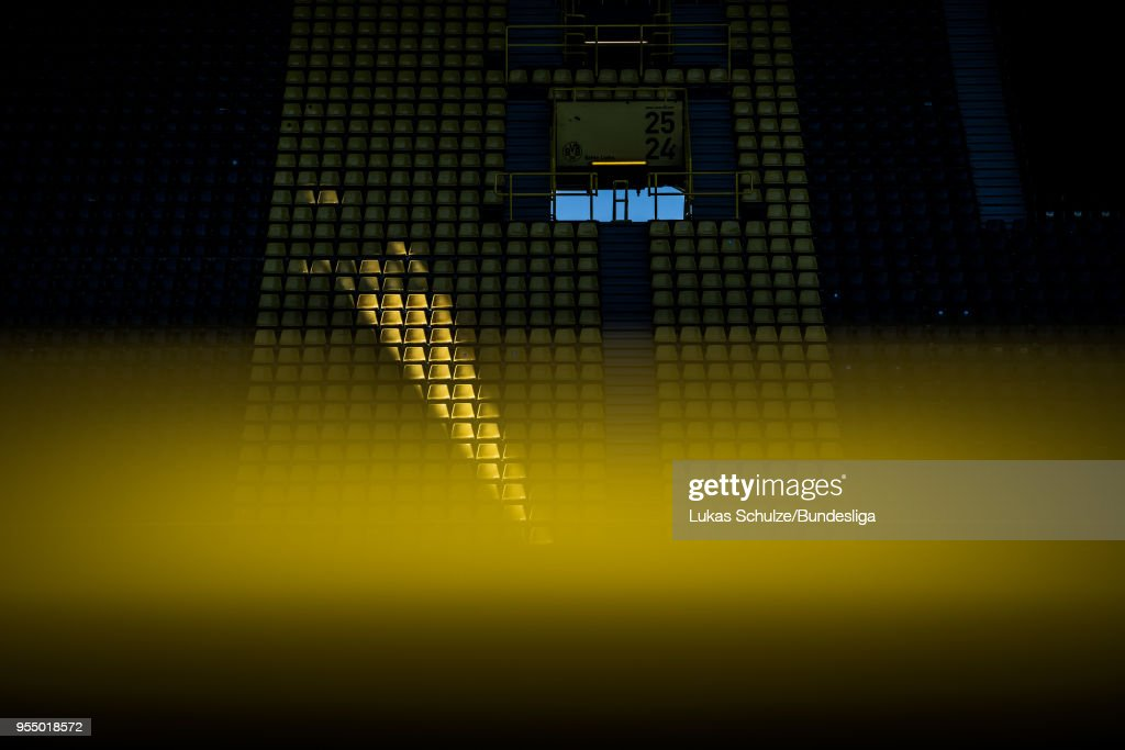 General view of the stadium with an empty tribune which is lit by the sun prior to the Bundesliga match between Borussia Dortmund and 1. FSV Mainz 05 at Signal Iduna Park on May 5, 2018 in Dortmund, Germany.