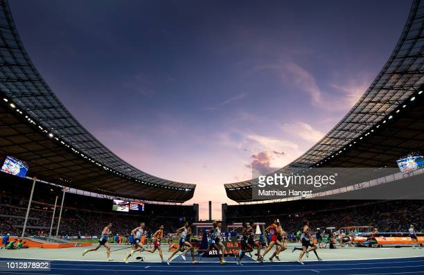 A general view of the stadium with athletes competing during the Men's 10000 metres final during day one of the 24th European Athletics Championships...