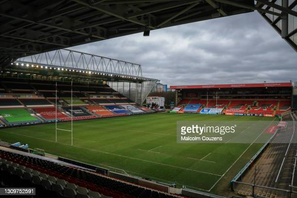 General view of the stadium with empty seats following the Gallagher Premiership Rugby match between Leicester Tigers and Newcastle Falcons at...