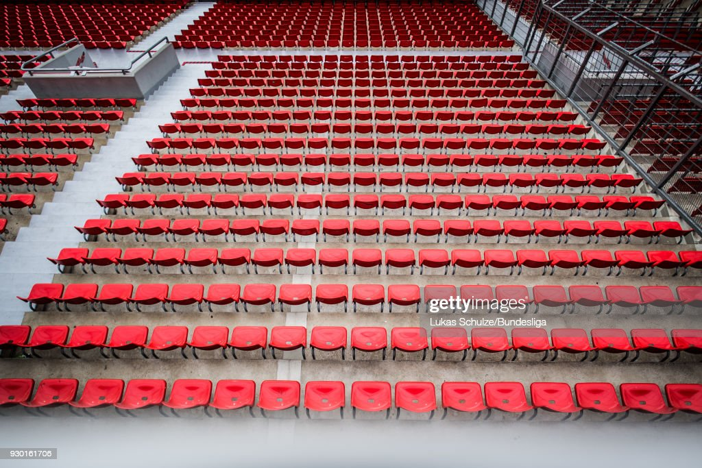 General view of the stadium with empty seats prior to the Bundesliga match between Bayer 04 Leverkusen and Borussia Moenchengladbach at BayArena on March 10, 2018 in Leverkusen, Germany.