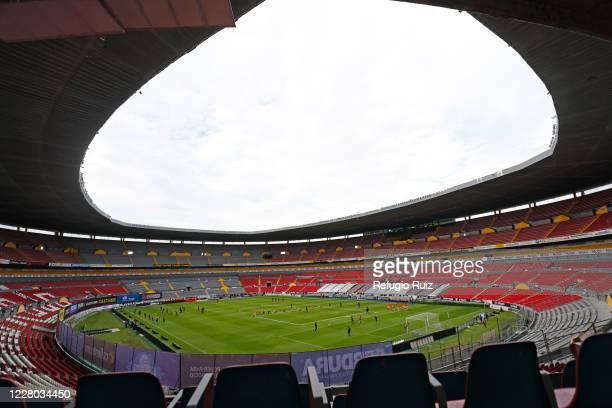 General view of the stadium with empty stands of Jalisco stadium before the game the 4th round match between Atlas and Toluca as part of the Torne...
